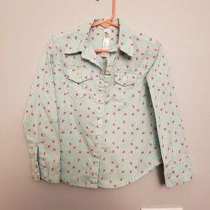 Girls Strawberry Button Up